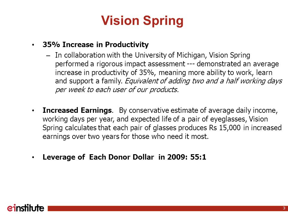 Vision Spring 3 35% Increase in Productivity – In collaboration with the University of Michigan, Vision Spring performed a rigorous impact assessment --- demonstrated an average increase in productivity of 35%, meaning more ability to work, learn and support a family.