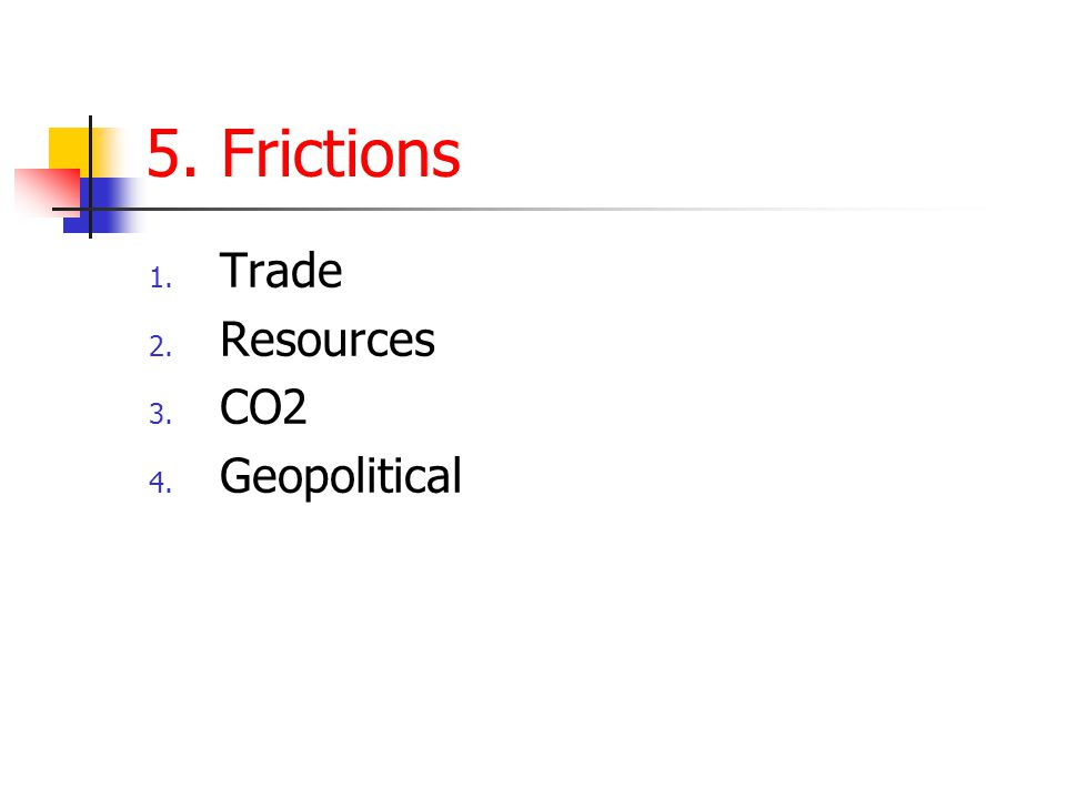 5. Frictions 1. Trade 2. Resources 3. CO2 4. Geopolitical