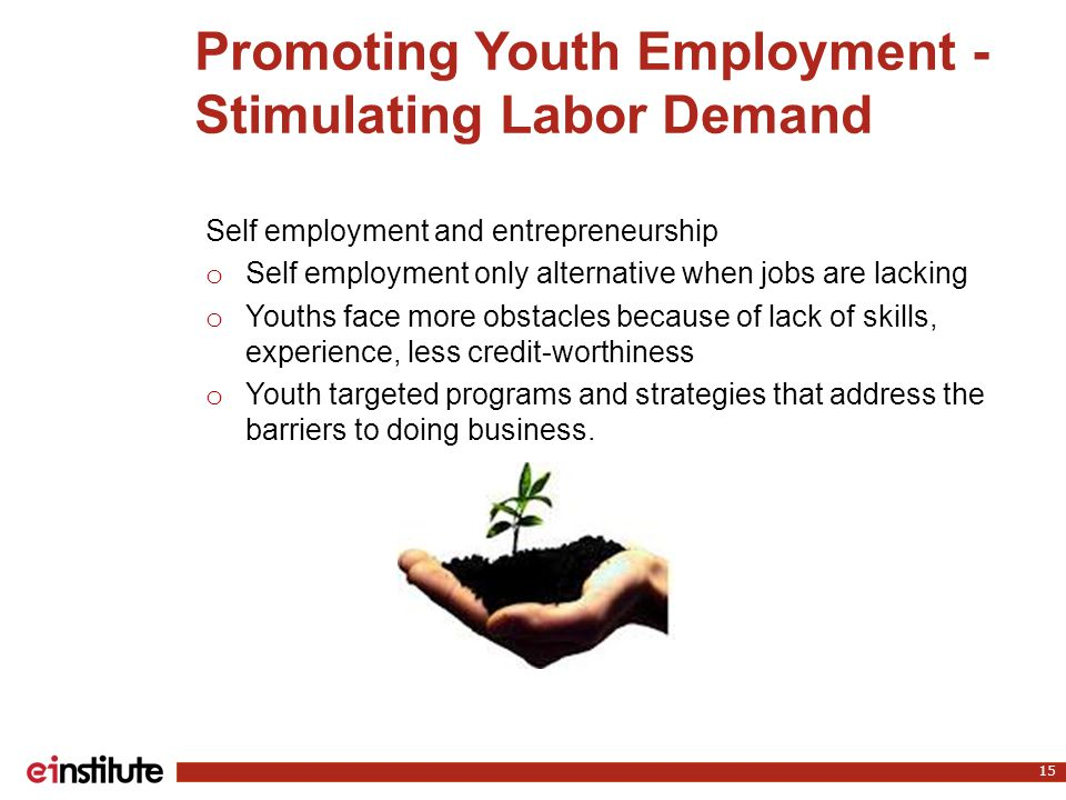 Promoting Youth Employment - Stimulating Labor Demand 15 Self employment and entrepreneurship o Self employment only alternative when jobs are lacking o Youths face more obstacles because of lack of skills, experience, less credit-worthiness o Youth targeted programs and strategies that address the barriers to doing business.