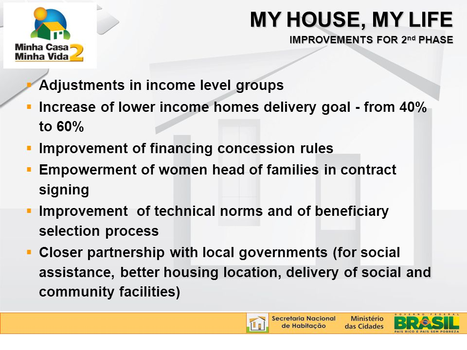 MY HOUSE, MY LIFE IMPROVEMENTS FOR 2 nd PHASE  Adjustments in income level groups  Increase of lower income homes delivery goal - from 40% to 60% 