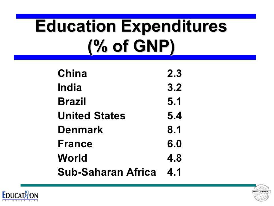 Education Expenditures (% of GNP) China2.3 India3.2 Brazil5.1 United States5.4 Denmark8.1 France6.0 World4.8 Sub-Saharan Africa4.1