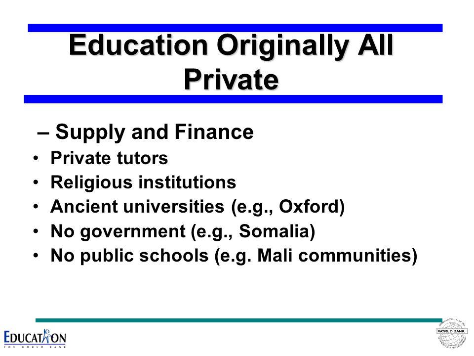 Education Originally All Private – Supply and Finance Private tutors Religious institutions Ancient universities (e.g., Oxford) No government (e.g., Somalia) No public schools (e.g.