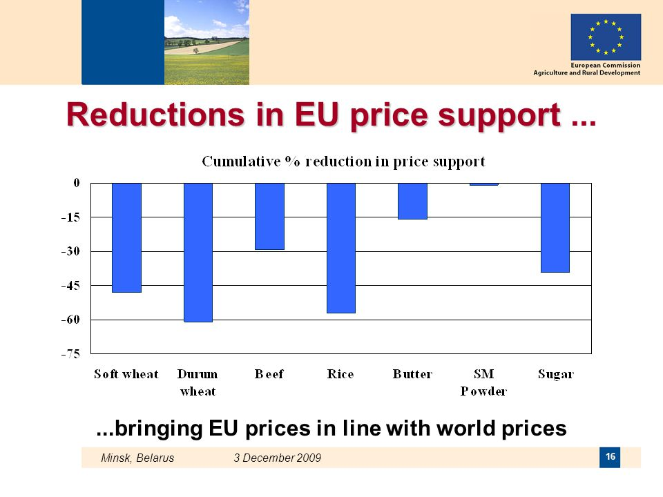 Minsk, Belarus 3 December 2009 16 Reductions in EU price support Reductions in EU price support......bringing EU prices in line with world prices