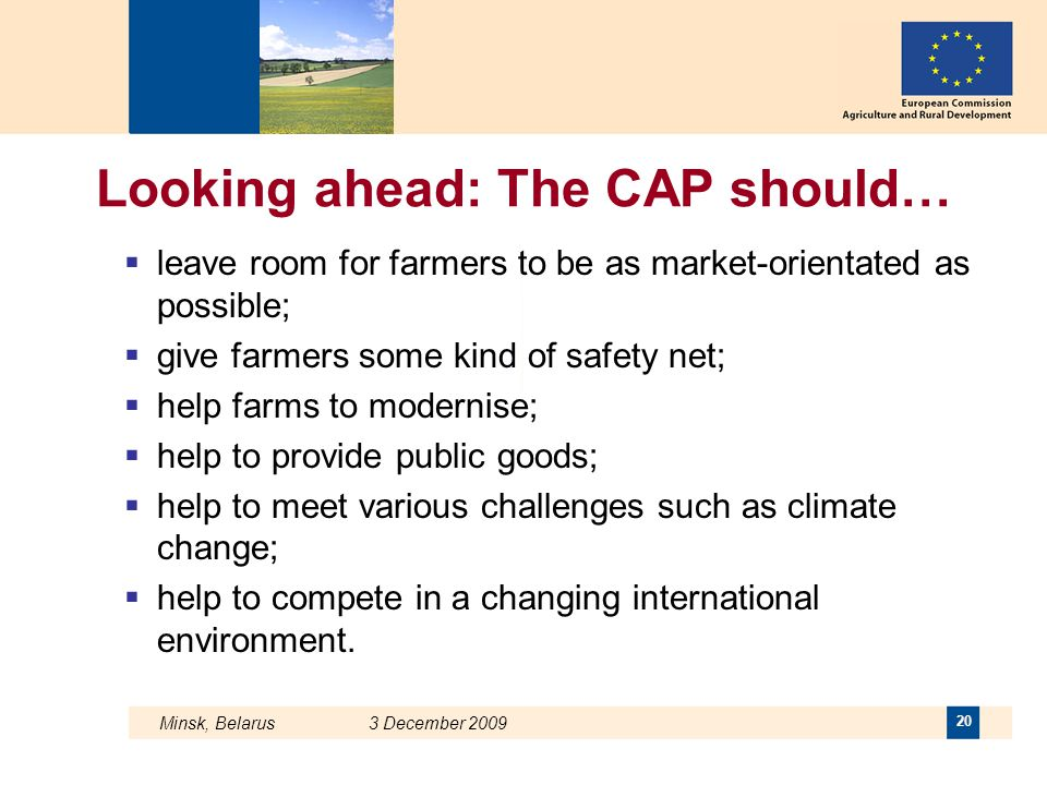 Minsk, Belarus 3 December 2009 20 Looking ahead: The CAP should…  leave room for farmers to be as market-orientated as possible;  give farmers some