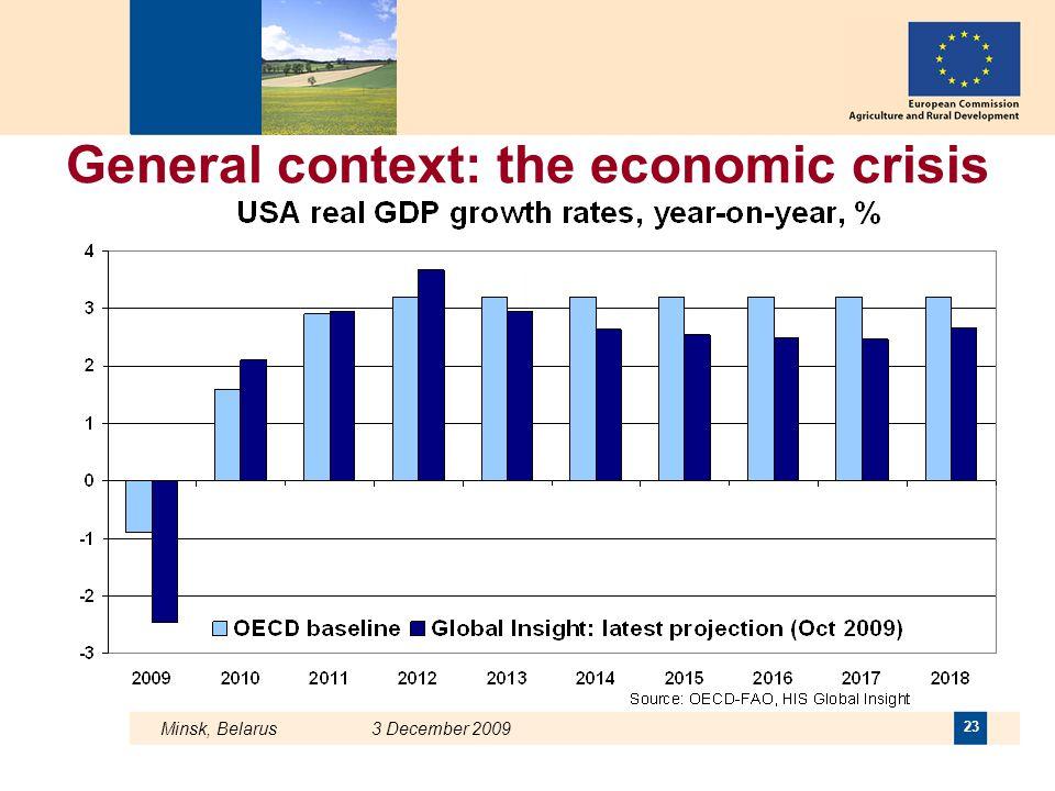 Minsk, Belarus 3 December 2009 23 General context: the economic crisis