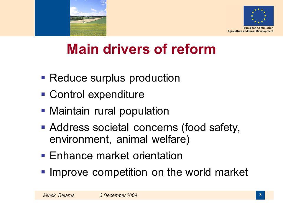 Minsk, Belarus 3 December 2009 3 Main drivers of reform  Reduce surplus production  Control expenditure  Maintain rural population  Address societ