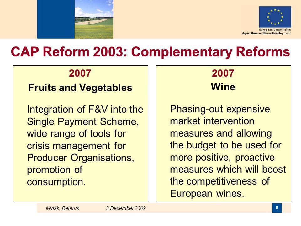Minsk, Belarus 3 December 2009 29 The CAP in one click http://ec.europa.eu/agriculture/index_en.htm