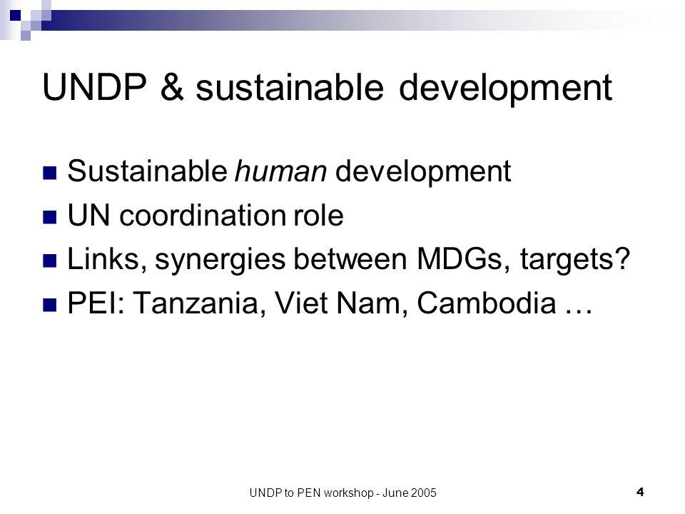 UNDP to PEN workshop - June 20055 UNDP in Viet Nam (2006-2010) UNDAF Outcome 1.