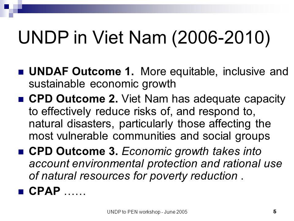 UNDP to PEN workshop - June 20056 SD Outputs UNDP (2006-2010) 1.