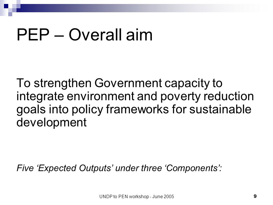 UNDP to PEN workshop - June 200520 Planned PEP Activities (e.g.) O2.1: Institutional mechanisms for planning and policy making improved Recommend re P-E to the SED Plan 2006- 2010, sector plans, provincial plans Document lessons and develop MONRE briefings on sectoral P-E issues Top priorities from the PEN studies?