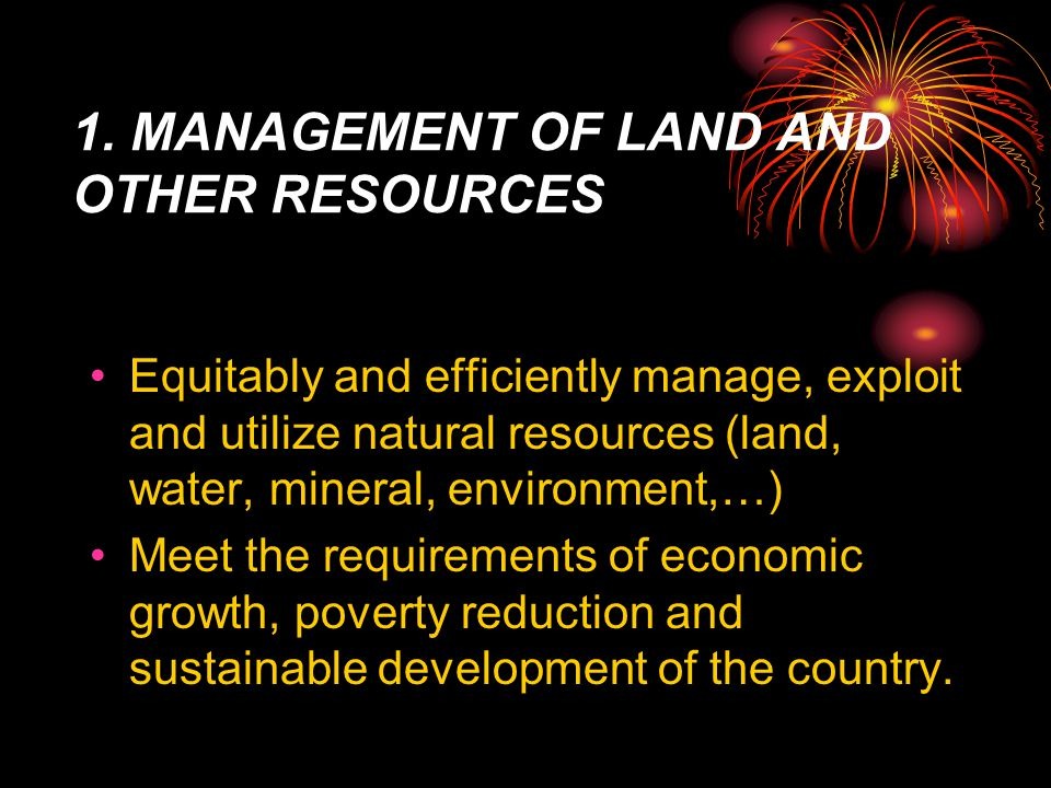 I. OVERVIEW ON 5-YEAR PLAN 2006-2010 ON NATURAL RESOURCES, ENVIRONMENT AND POVERTY REDUCTION  General background  Major objectives and duties