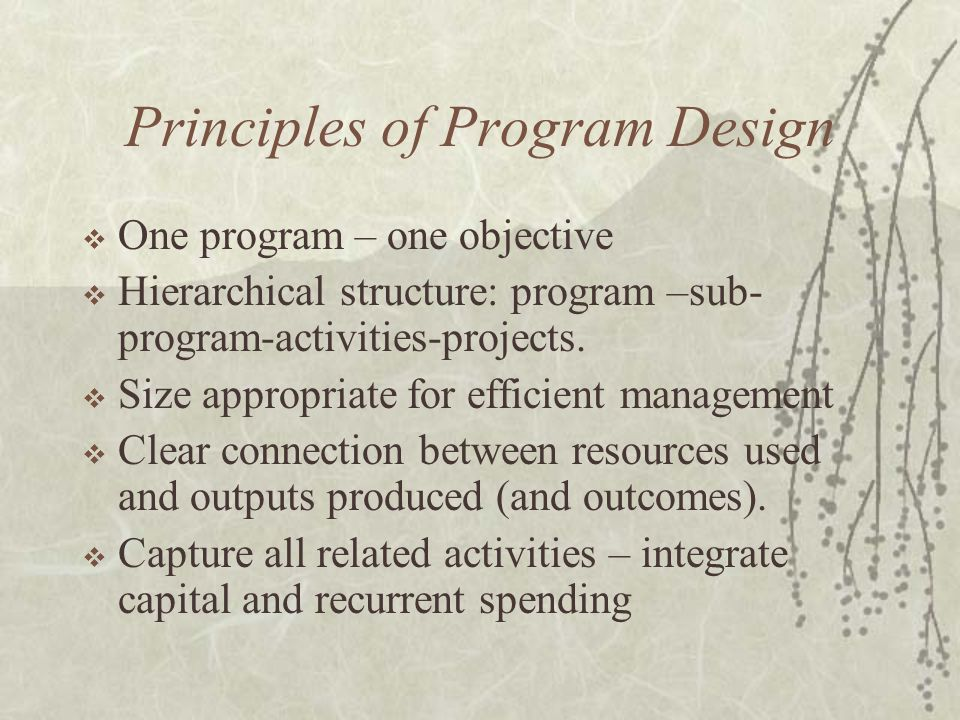 Principles of Program Design  One program – one objective  Hierarchical structure: program –sub- program-activities-projects.  Size appropriate for