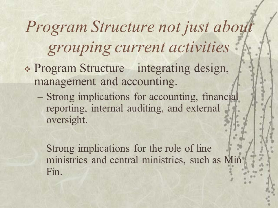 Program Structure not just about grouping current activities  Program Structure – integrating design, management and accounting. –Strong implications