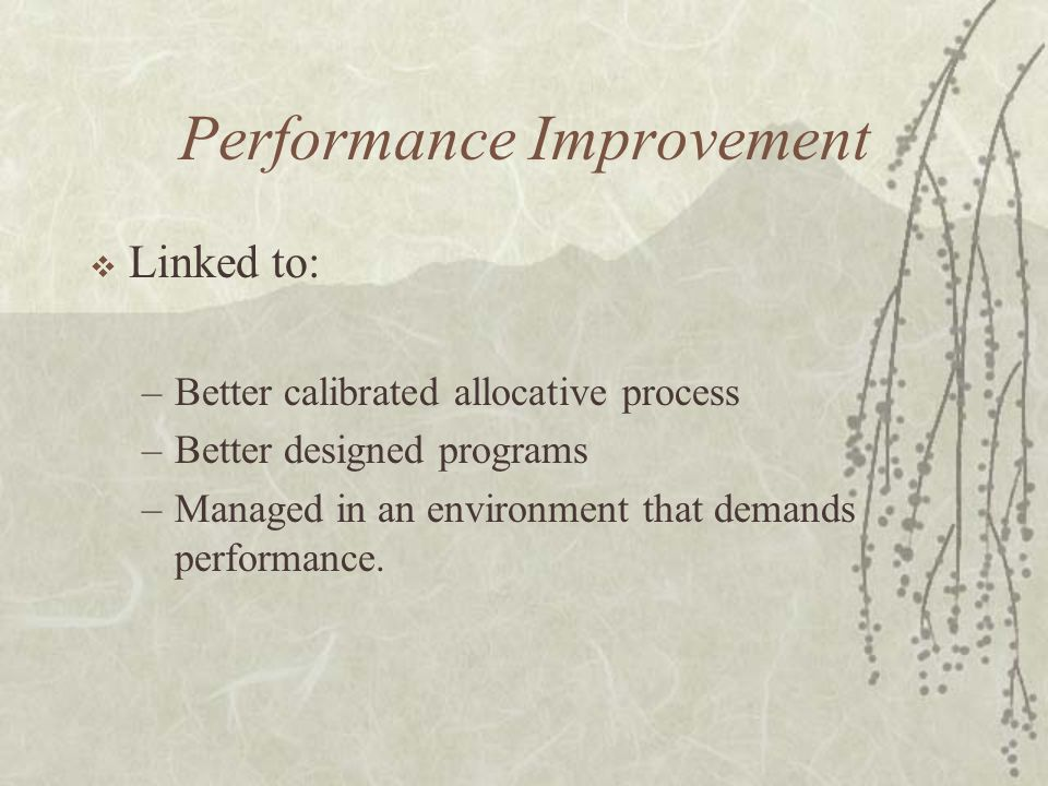 Performance Improvement  Linked to: –Better calibrated allocative process –Better designed programs –Managed in an environment that demands performan