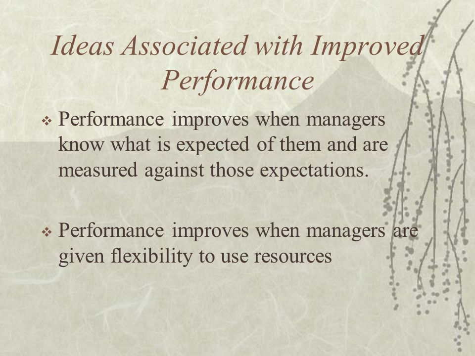 Ideas Associated with Improved Performance  Performance improves when managers know what is expected of them and are measured against those expectati