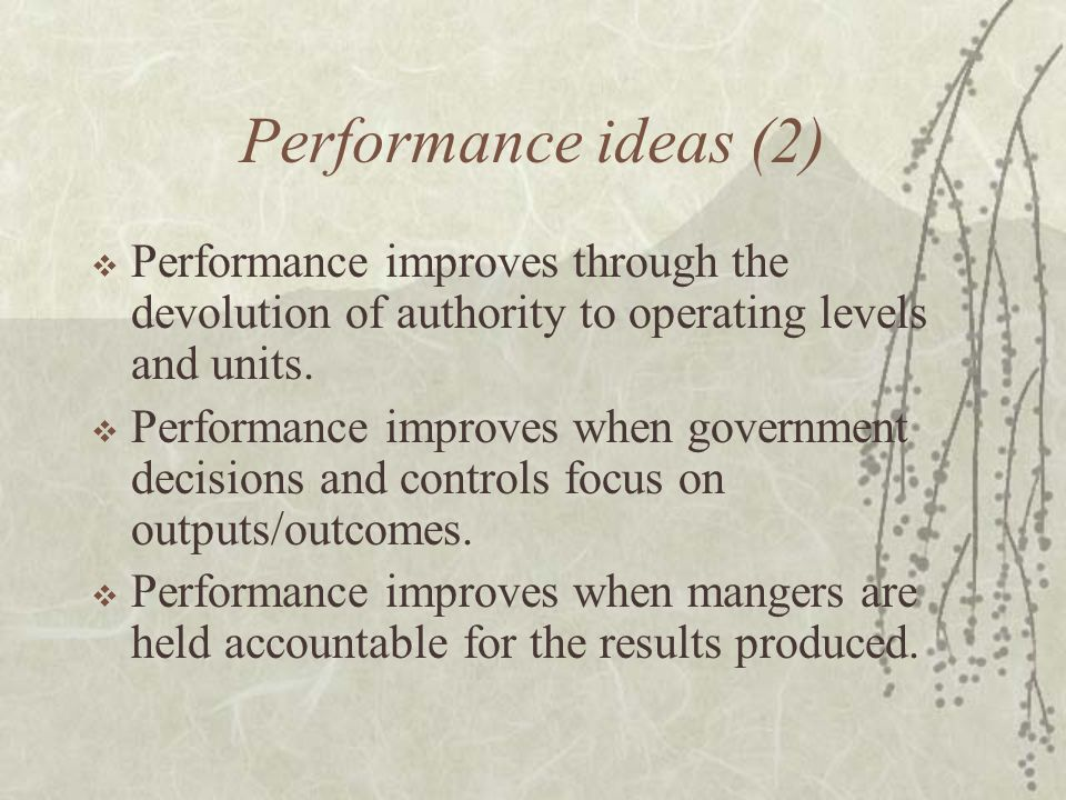 Performance ideas (2)  Performance improves through the devolution of authority to operating levels and units.  Performance improves when government