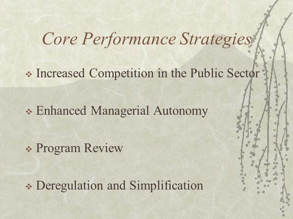 Core Performance Strategies  Increased Competition in the Public Sector  Enhanced Managerial Autonomy  Program Review  Deregulation and Simplifica