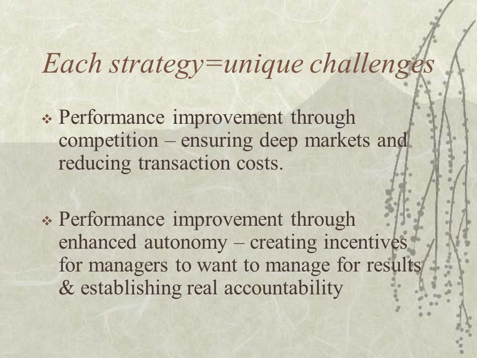 Each strategy=unique challenges  Performance improvement through competition – ensuring deep markets and reducing transaction costs.  Performance im