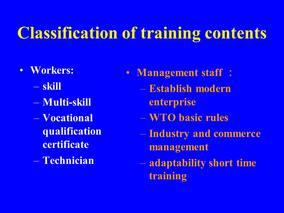 Training Contents Morality; Modern management knowledge and method; Vocational specialized knowledge; General culture and specialized basis knowledge