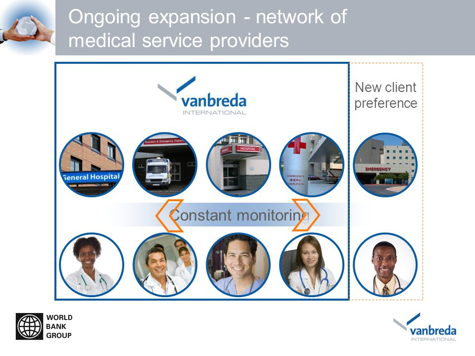 Ongoing expansion - network of medical service providers New client preference Constant monitoring