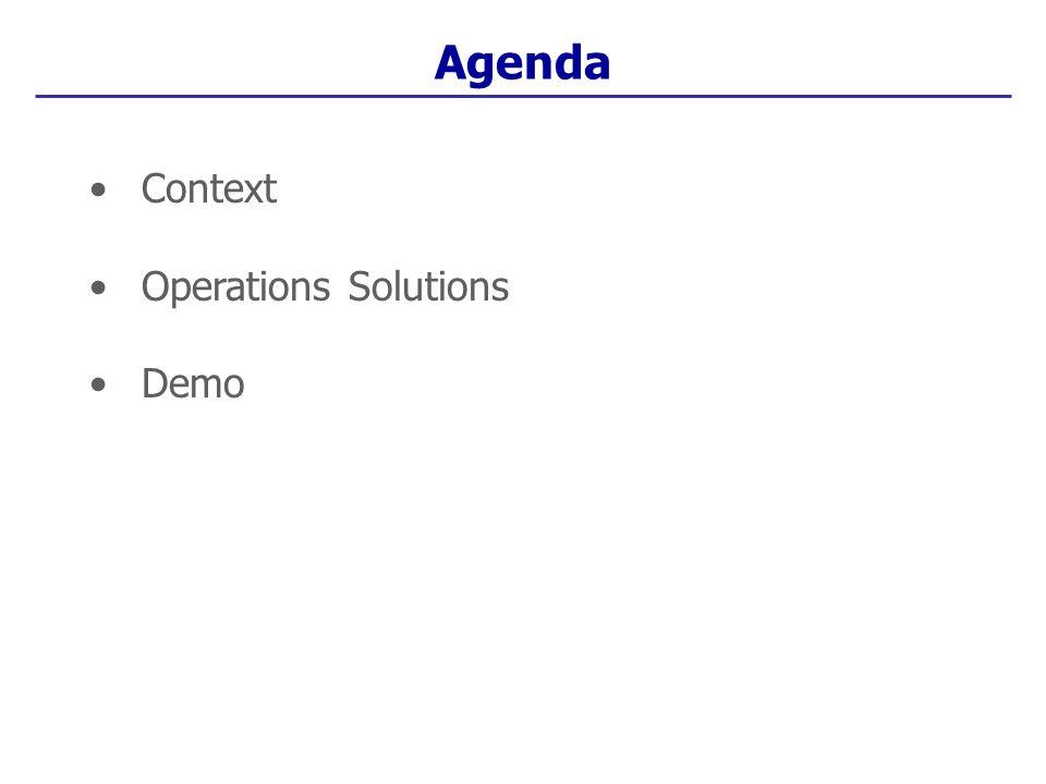 Context Operations Solutions Demo Agenda