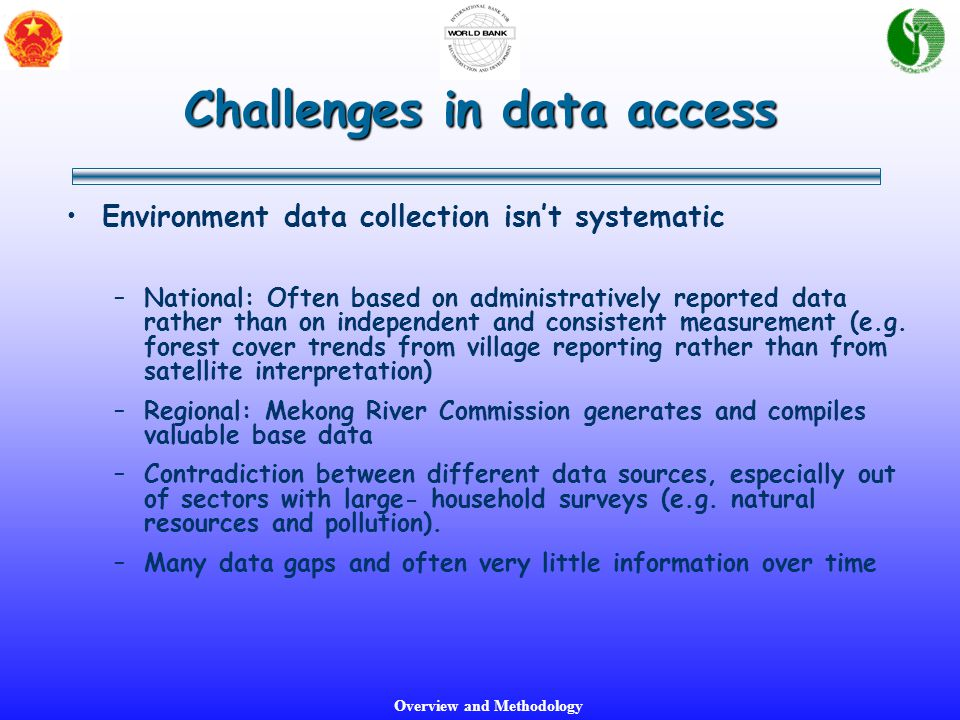 Overview and Methodology Environment data collection isn't systematic –National: Often based on administratively reported data rather than on independ