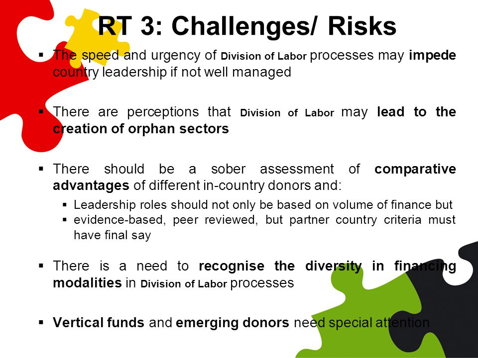 RT 3: Challenges/ Risks  The speed and urgency of Division of Labor processes may impede country leadership if not well managed  There are perceptions that Division of Labor may lead to the creation of orphan sectors  There should be a sober assessment of comparative advantages of different in-country donors and:  Leadership roles should not only be based on volume of finance but  evidence-based, peer reviewed, but partner country criteria must have final say  There is a need to recognise the diversity in financing modalities in Division of Labor processes  Vertical funds and emerging donors need special attention