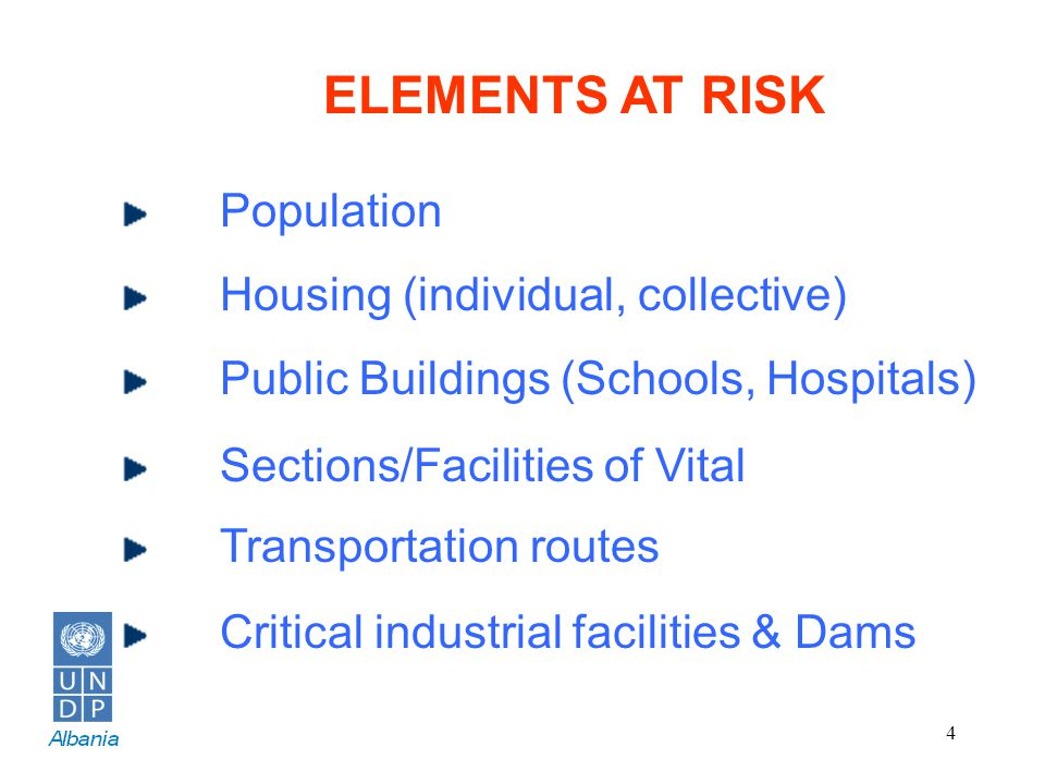 4 ELEMENTS AT RISK Population Housing (individual, collective) Public Buildings (Schools, Hospitals) Sections/Facilities of Vital Transportation route