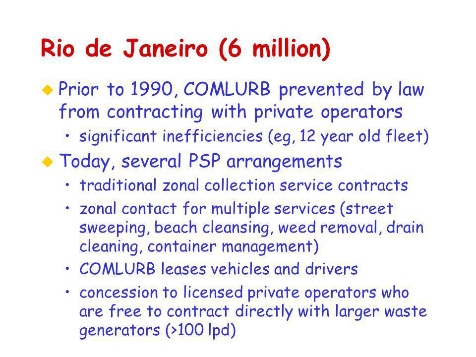 Rio de Janeiro (6 million) u Prior to 1990, COMLURB prevented by law from contracting with private operators significant inefficiencies (eg, 12 year old fleet) u Today, several PSP arrangements traditional zonal collection service contracts zonal contact for multiple services (street sweeping, beach cleansing, weed removal, drain cleaning, container management) COMLURB leases vehicles and drivers concession to licensed private operators who are free to contract directly with larger waste generators (>100 lpd)