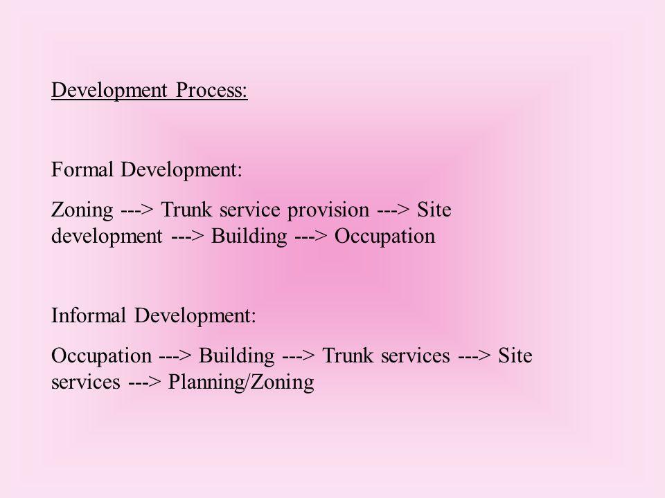 Development Process: Formal Development: Zoning ---> Trunk service provision ---> Site development ---> Building ---> Occupation Informal Development: Occupation ---> Building ---> Trunk services ---> Site services ---> Planning/Zoning