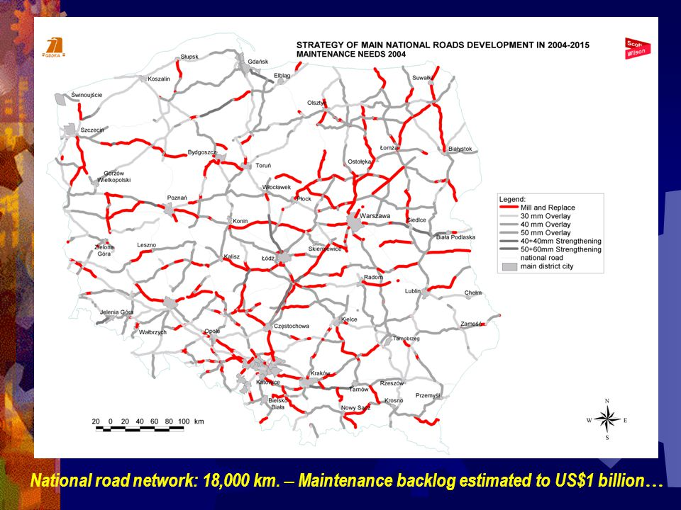 National road network: 18,000 km. – Maintenance backlog estimated to US$1 billion …