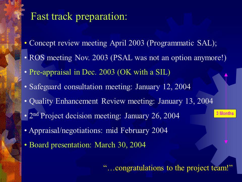 Concept review meeting April 2003 (Programmatic SAL); ROS meeting Nov.