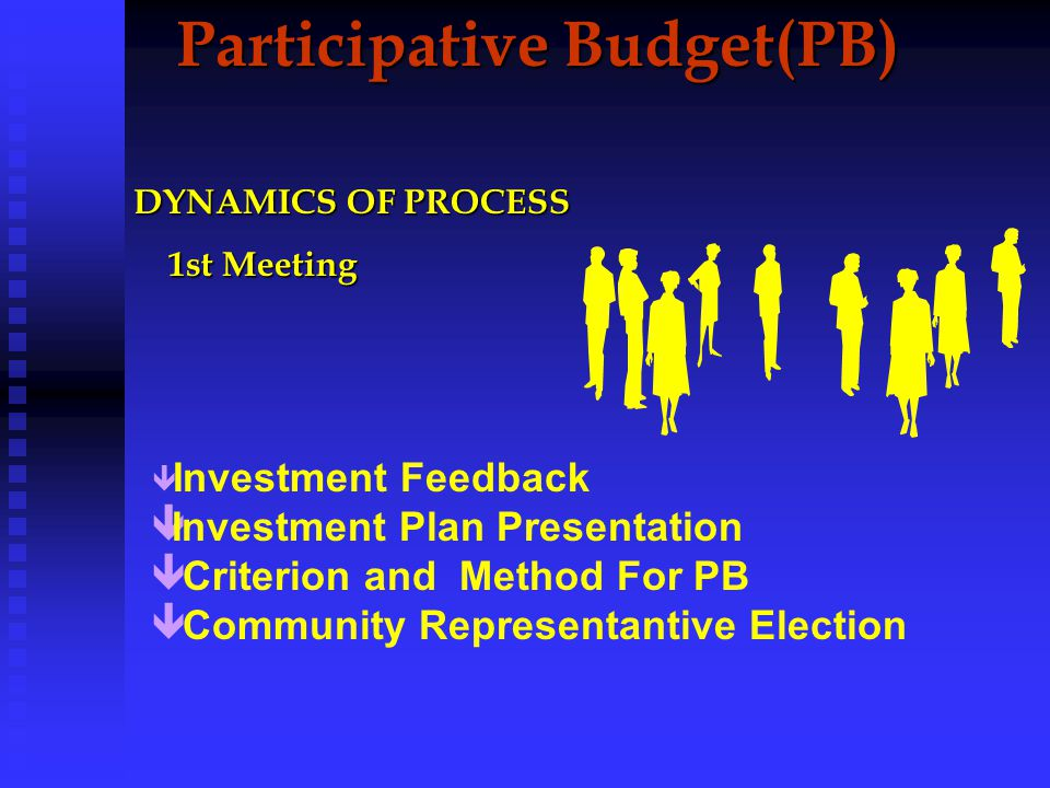 Participative Budget GEOGRAPHIC BASE GEOGRAPHIC BASE The city is divided in 16 Regions THEMATIC BASE THEMATIC BASE Thematic Meetings(5) *Public Transport and Traffic *Health Care and Social Assistance * Education, Culture and Leisure * Economic Development and Taxation * City Organization and Urban Development