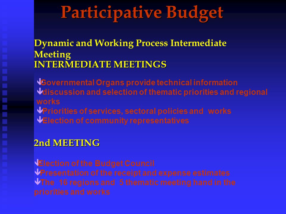 Participative Budget(PB) Participative Budget(PB) DYNAMICS OF PROCESS 1st Meeting 1st Meeting ê Investment Feedback êInvestment Plan Presentation ê Criterion and Method For PB ê Community Representantive Election