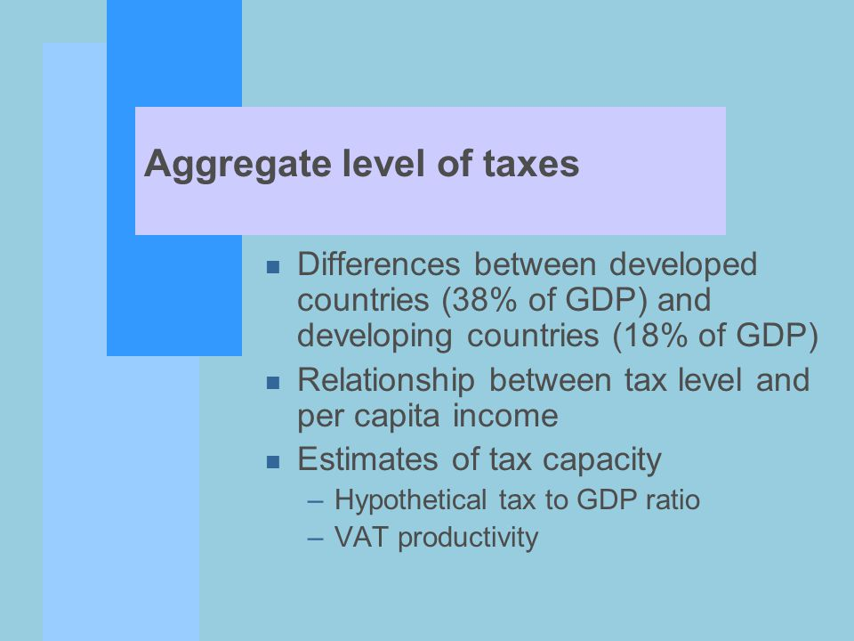 Taxes and Decentralization n Increasingly important to focus on assigning taxing and spending authority to lower levels of government n Notion that decentralization may improve government service by increasing accountability