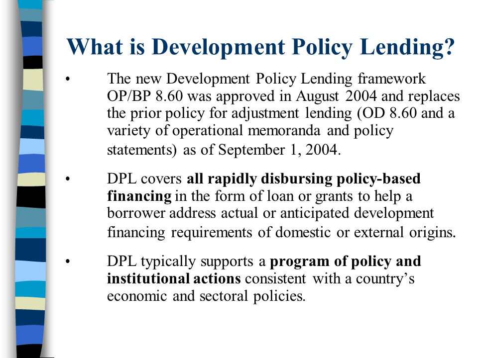 What is Development Policy Lending.
