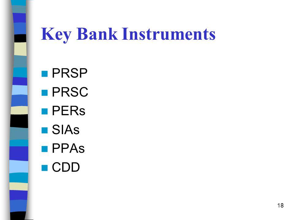 18 Key Bank Instruments PRSP PRSC PERs SIAs PPAs CDD
