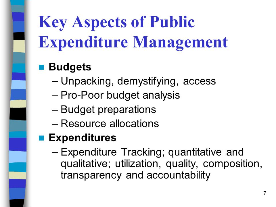 7 Key Aspects of Public Expenditure Management Budgets –Unpacking, demystifying, access –Pro-Poor budget analysis –Budget preparations –Resource alloc