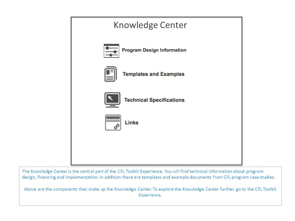 Knowledge Center The Knowledge Center is the central part of the CFL Toolkit Experience.