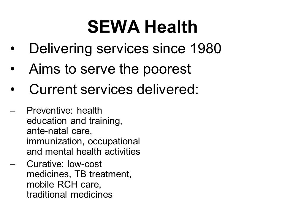 Findings: Percentage distribution of urban SEWA Health service users by SES quintile (compared to DHS 1998-99)