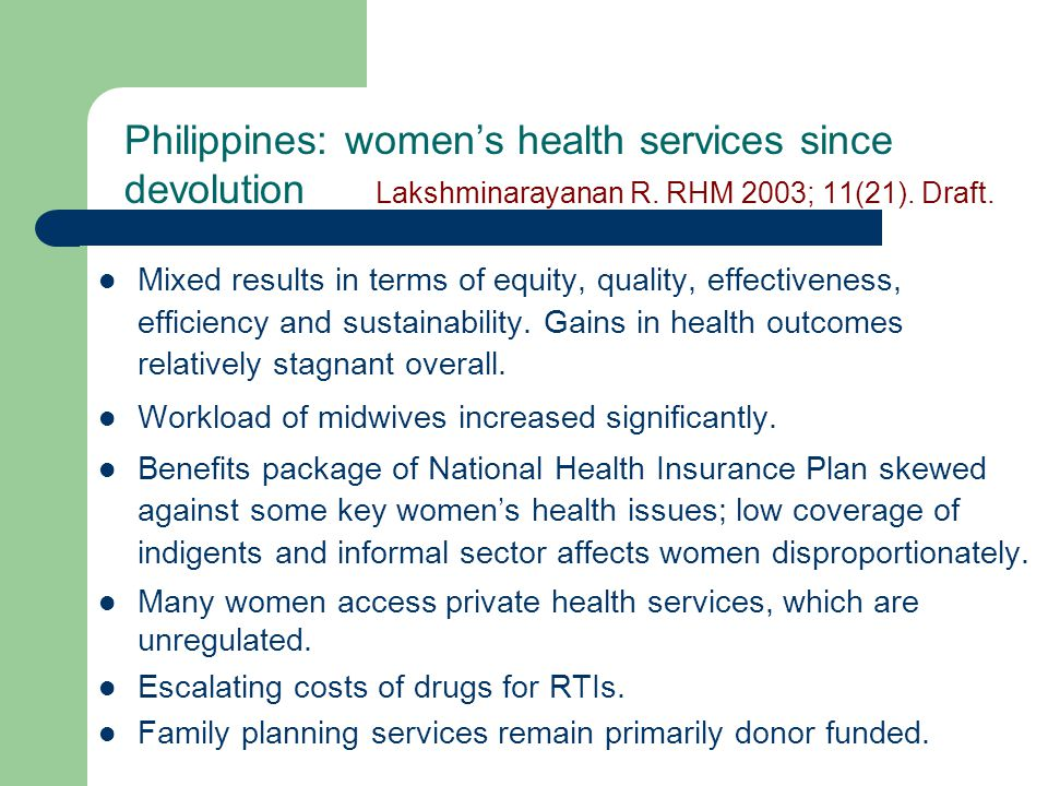 Philippines: women's health services since devolution Lakshminarayanan R.