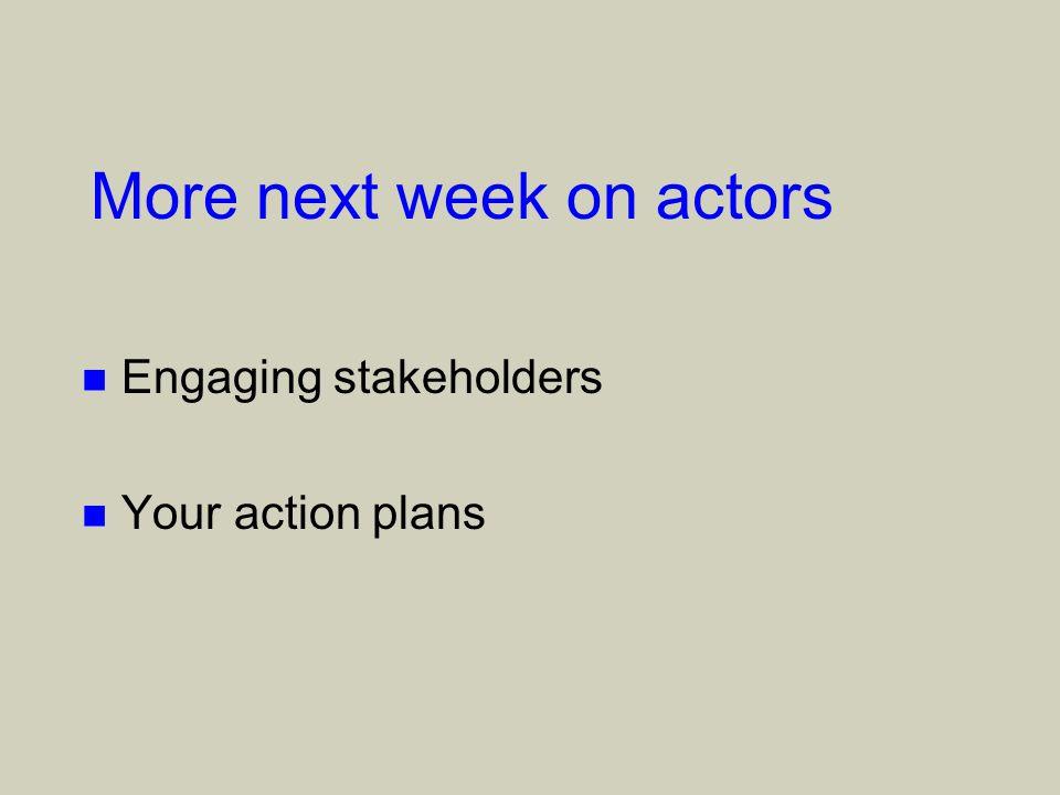 More next week on actors n Engaging stakeholders n Your action plans
