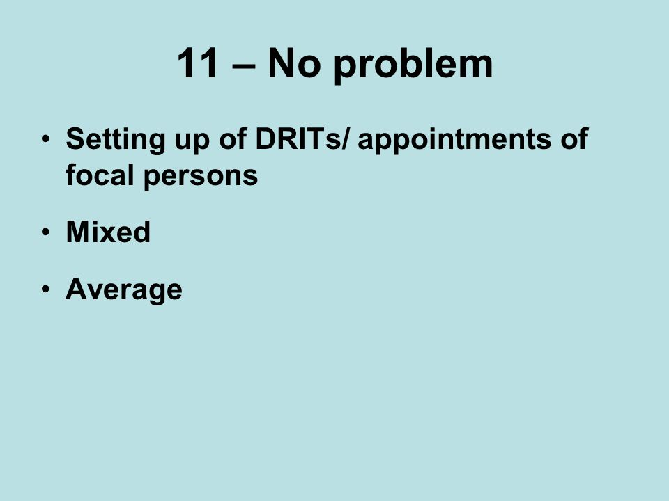 11 – No problem Setting up of DRITs/ appointments of focal persons Mixed Average