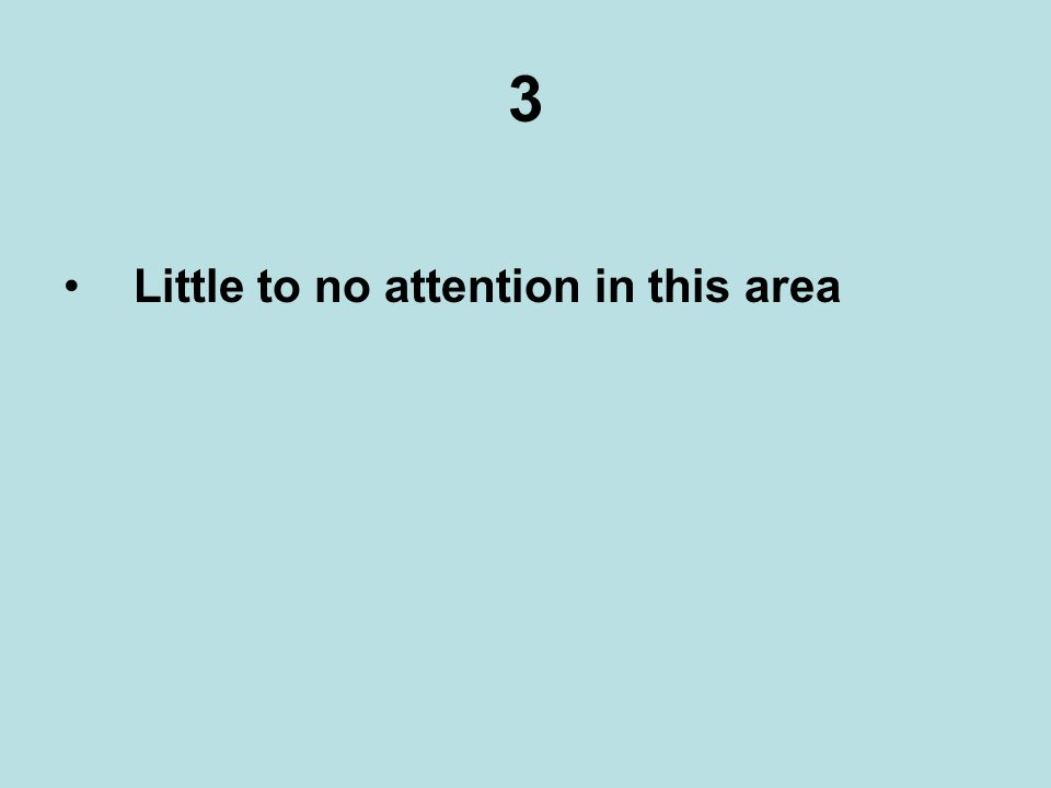 3 Little to no attention in this area