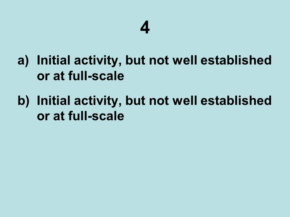4 a)Initial activity, but not well established or at full-scale b)Initial activity, but not well established or at full-scale