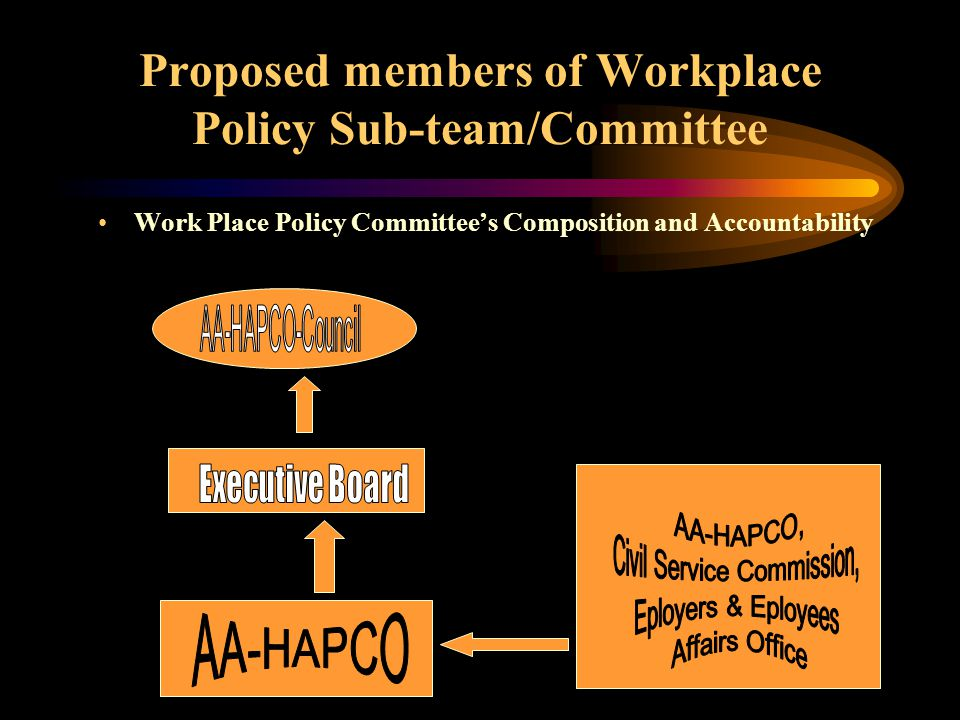 Proposed members of Workplace Policy Sub-team/Committee Work Place Policy Committee's Composition and Accountability