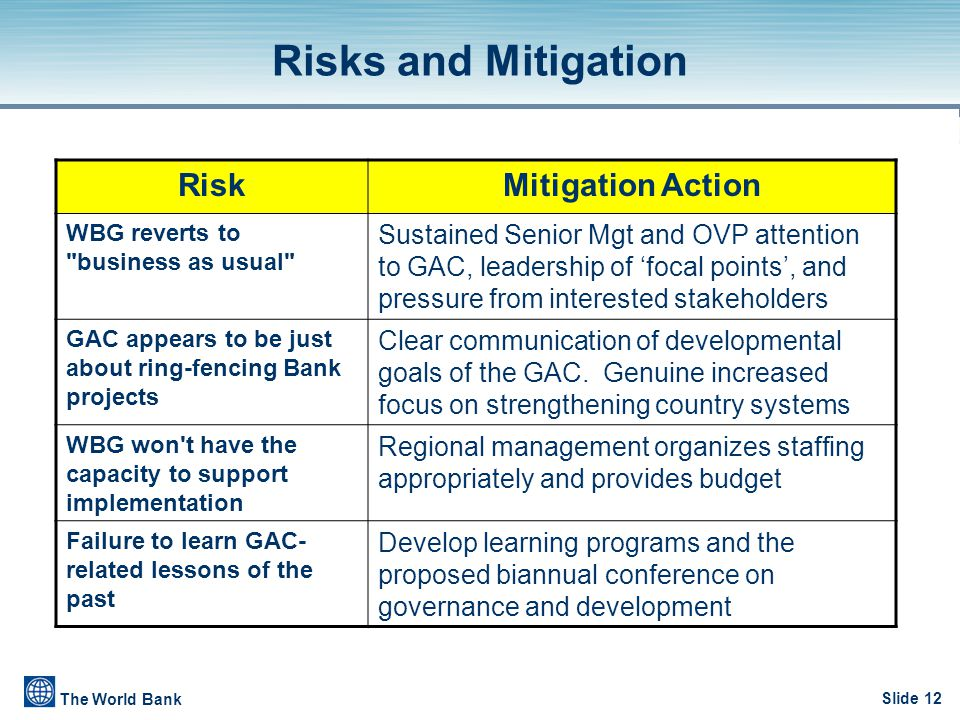 Slide 12 The World Bank RiskMitigation Action WBG reverts to business as usual Sustained Senior Mgt and OVP attention to GAC, leadership of 'focal points', and pressure from interested stakeholders GAC appears to be just about ring-fencing Bank projects Clear communication of developmental goals of the GAC.