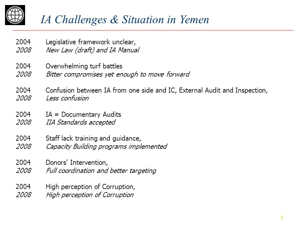6 IA Challenges & Situation in Yemen 2004Legislative framework unclear, 2008New Law (draft) and IA Manual 2004Overwhelming turf battles 2008Bitter compromises yet enough to move forward 2004Confusion between IA from one side and IC, External Audit and Inspection, 2008Less confusion 2004IA = Documentary Audits 2008IIA Standards accepted 2004Staff lack training and guidance, 2008Capacity Building programs implemented 2004Donors' Intervention, 2008Full coordination and better targeting 2004High perception of Corruption, 2008High perception of Corruption