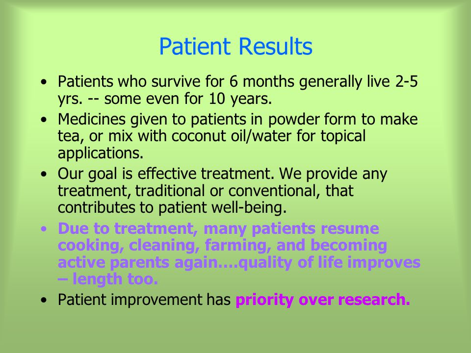 Patient Results Patients who survive for 6 months generally live 2-5 yrs.