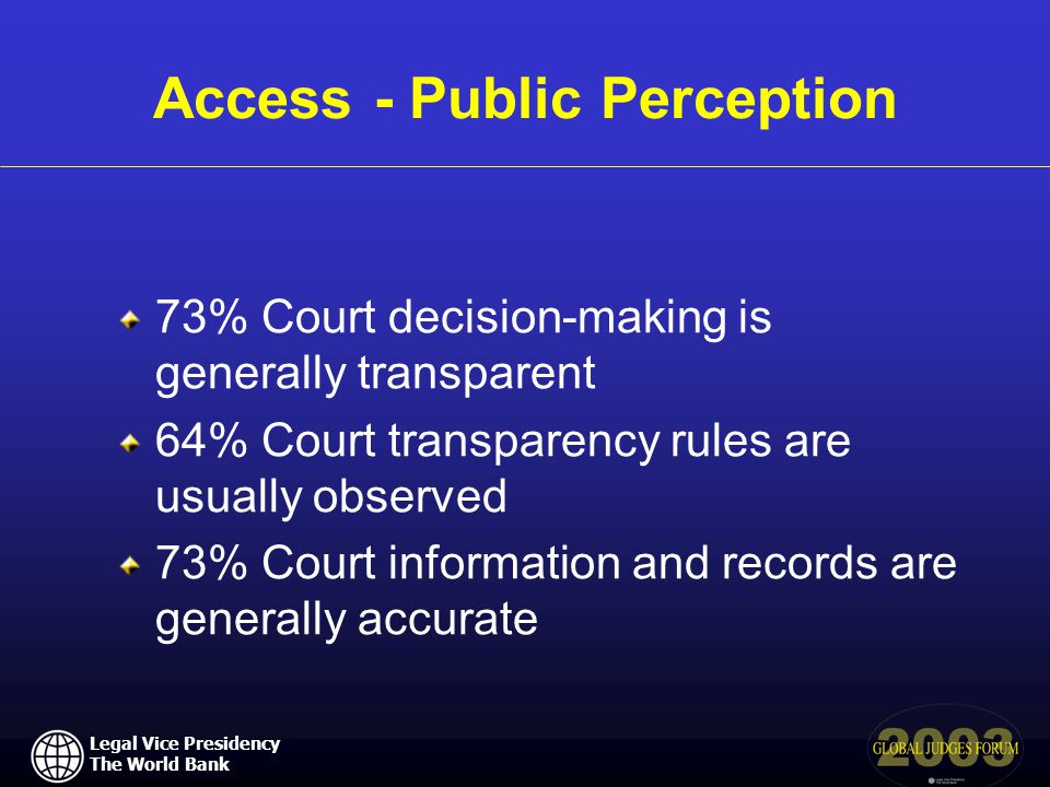 Legal Vice Presidency The World Bank Access - Public Perception 73% Court decision-making is generally transparent 64% Court transparency rules are usually observed 73% Court information and records are generally accurate